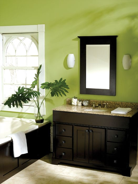 Bath vanities yorkton bertch cabinets for Bathroom decor green and brown