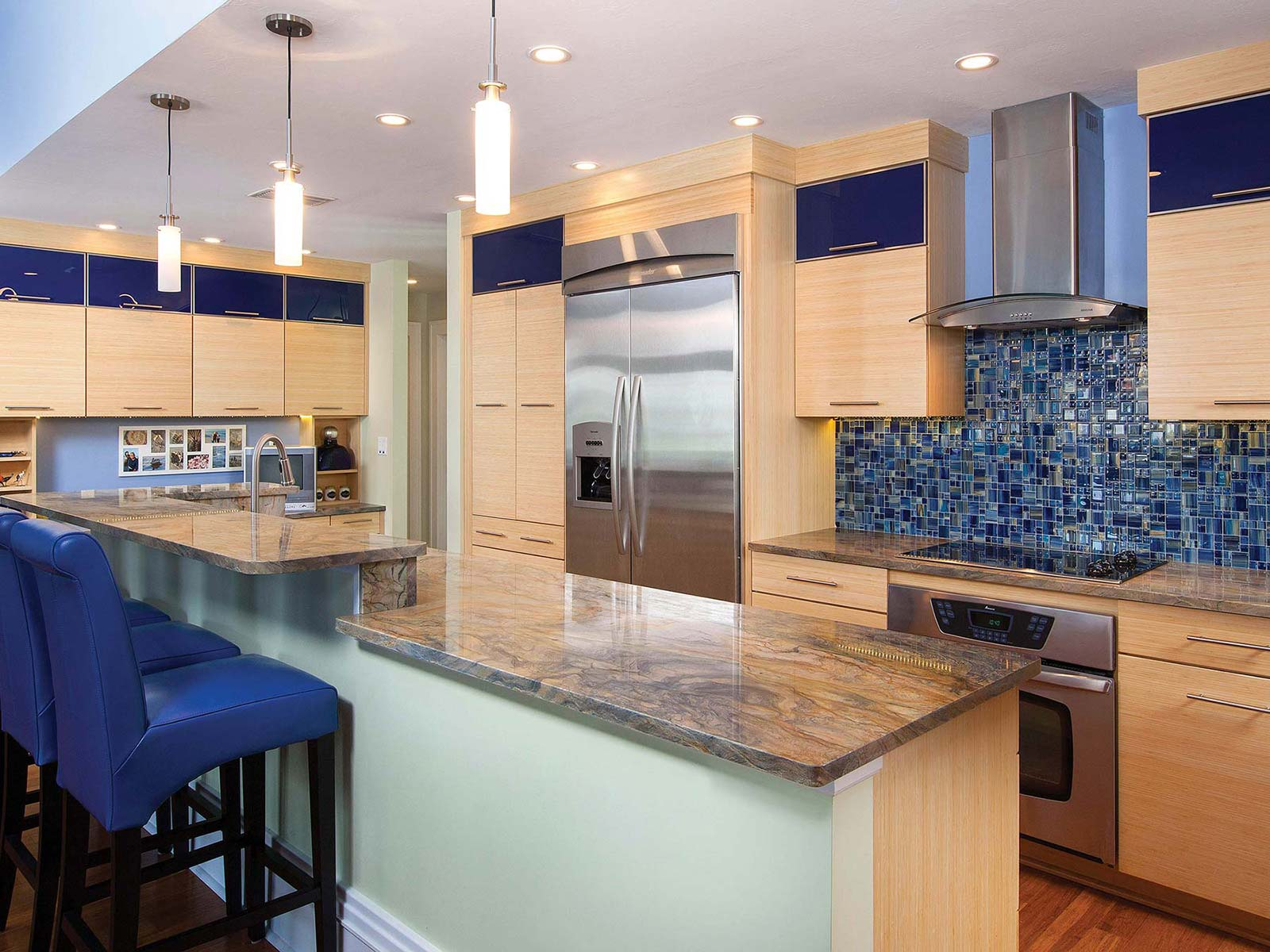 Bertch Jarkata Plyboo Natural Blue Kitchen Cabinets