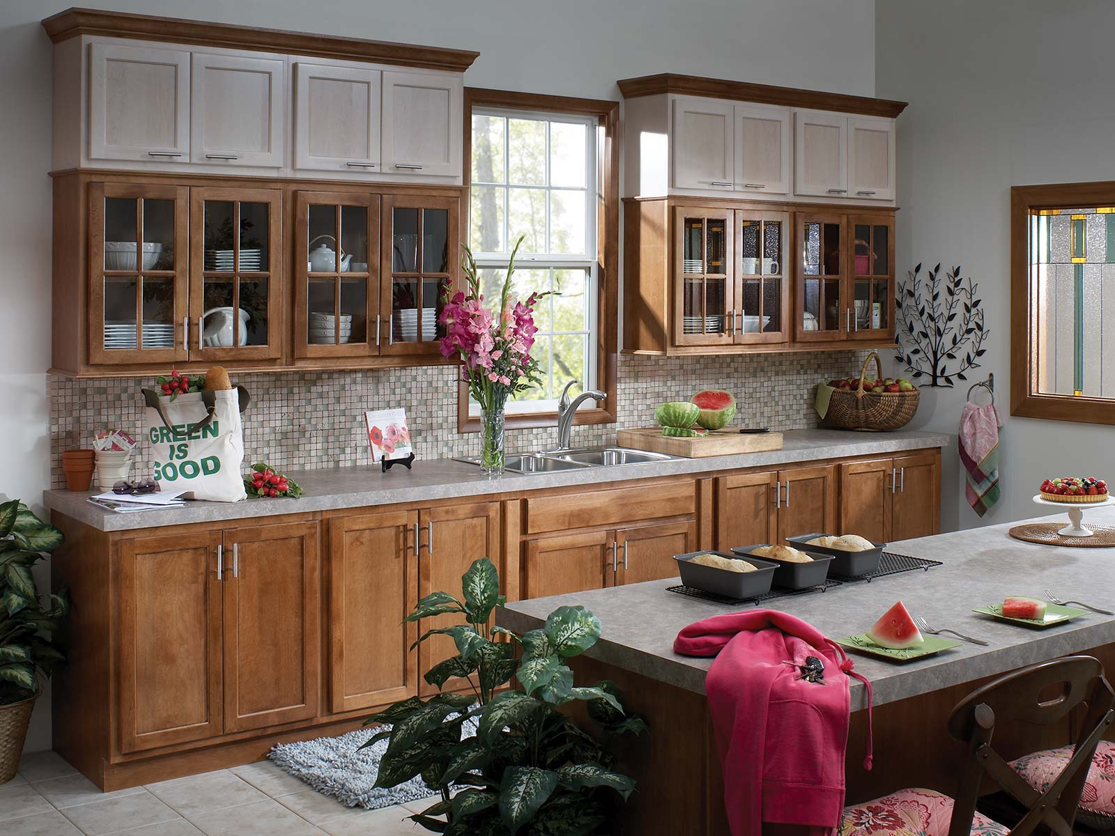 Mullion glass kitchen cabinets