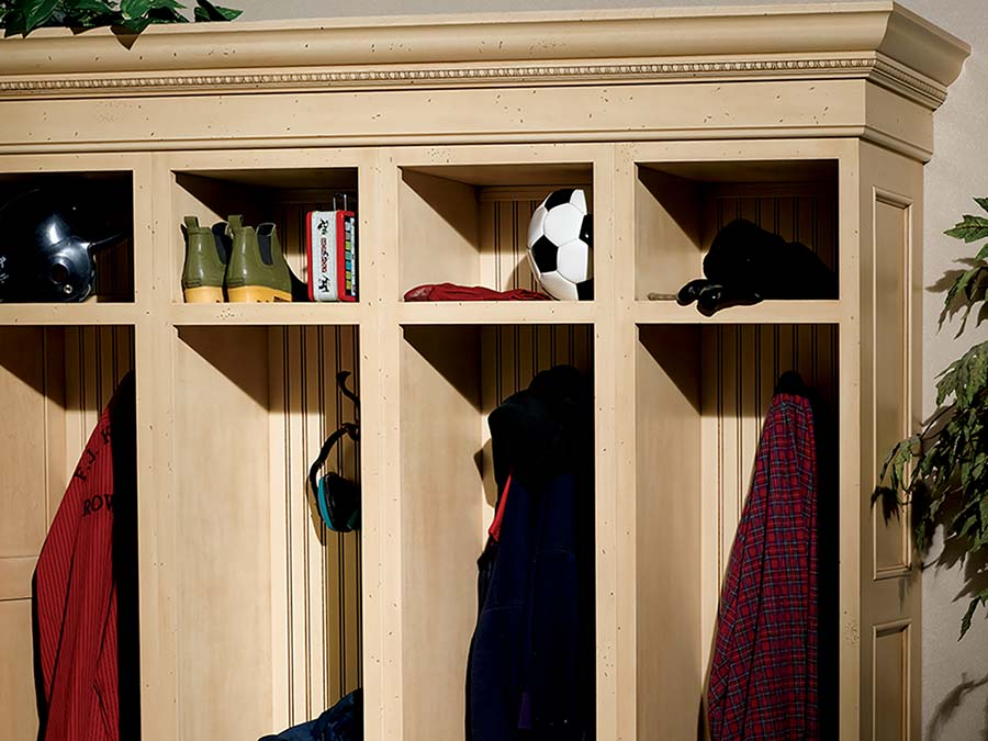. Woodbridge Birch Parchment mudroom   Inspiration   Bertch Cabinets