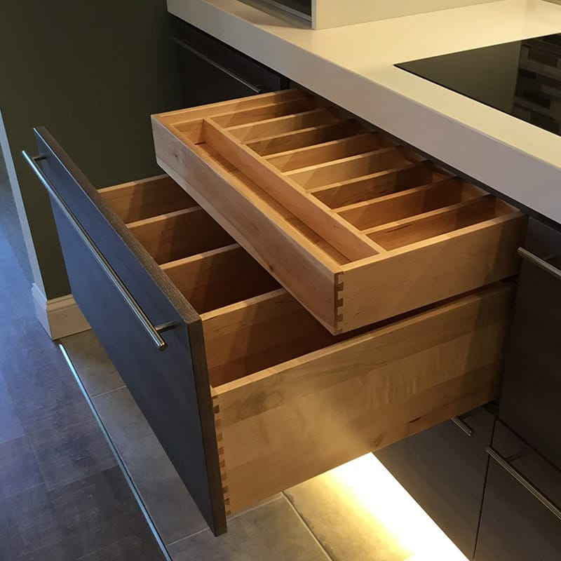 kitchen accessory - divided drawers - bertch cabinet