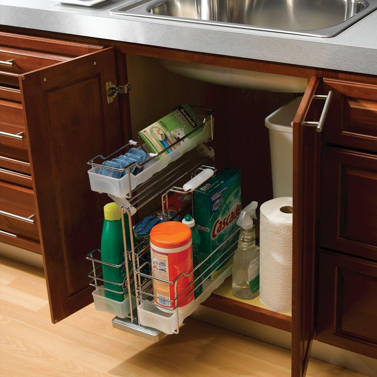 Undersink Caddy - Accessories - Bertch Cabinet Manufacturing on kitchen cupboard accessories, kitchen cabinets parts accessories, under kitchen storage,