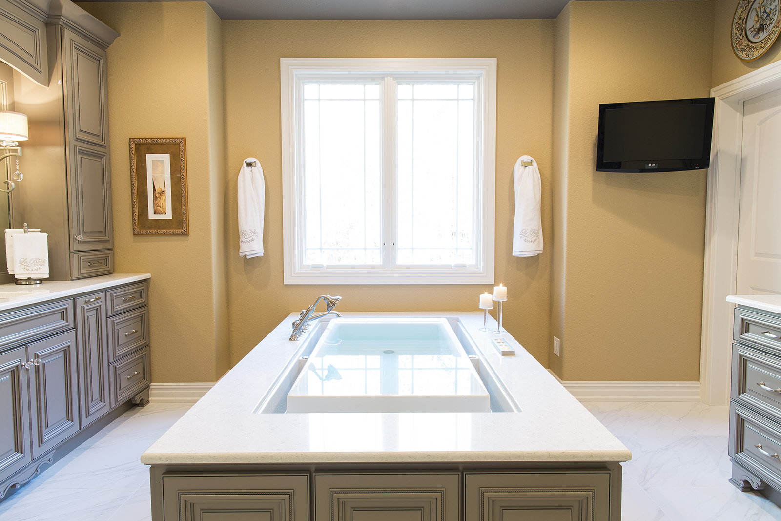 Custom bathroom with built-in tub