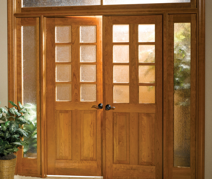 Traditional Series French Doors in Cherry with Toffee Stain