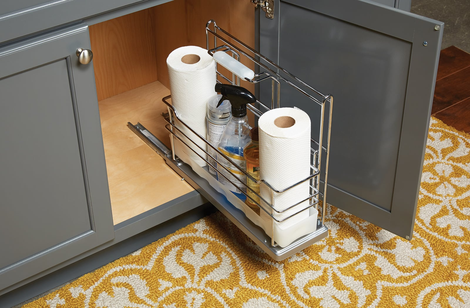 bathroom undersink caddy for paper towels and cleaners